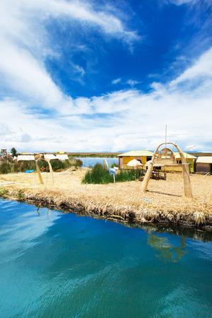 quechua indian: Totora boat on the Titicaca lake near Puno, Peru