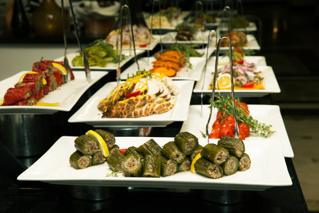 line lines luxury meeting: Buffet line in the hotel restaurant