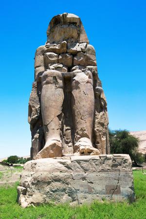 cartouche: Egypt. Luxor. The Colossi of Memnon - two massive stone statues of Pharaoh Amenhotep III