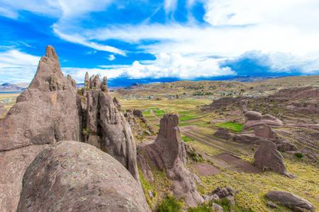 entranceway: Hayu Marca, the mysterious stargate and unique rock formations near Puno, Peru Stock Photo