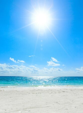 white sand beach: beautiful beach and tropical sea Stock Photo