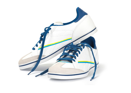 athletic wear: shoes pair on a white background Stock Photo