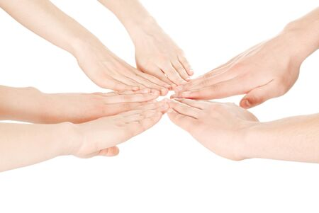 jointly: United hands on white background Stock Photo