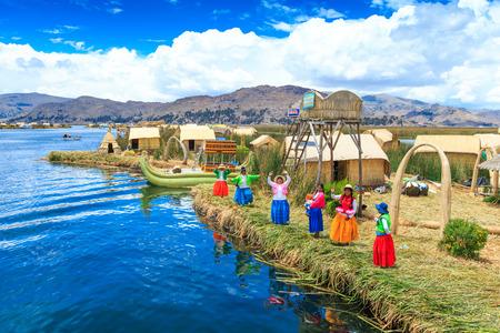 Titicacameer dichtbij Puno, Peru Stockfoto