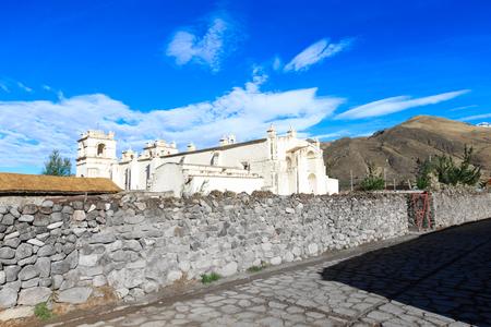 quechua: White Catholic church in rural Peru