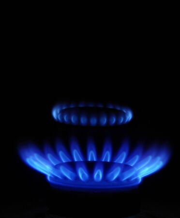 gas stove: flames of gas stove in the dark