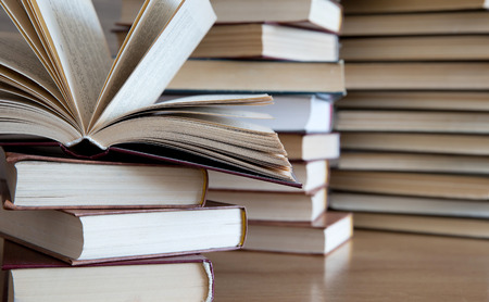 tabletop: books on wooden deck tabletop