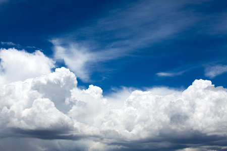 blue sky background with tiny clouds Stock Photo
