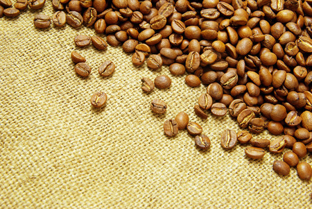 bagging: coffee beans on burlap background