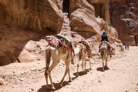 PETRA, JORDAN - APRIL 12, 2014: Unidentified people in front of Petra, Jordan.