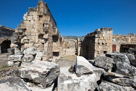 pamukkale: Ancient ruins in Hierapolis, Pamukkale, Turkey.