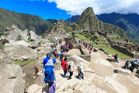 top seven: MACHU PICCHU NOVEMBER 11: Tourists walk in Machu Picchu site on November 11 2015 in Machu Picchu. Editorial