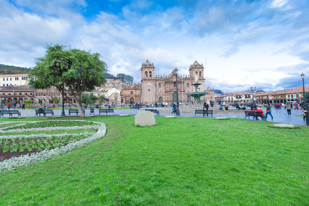 plaza of arms: CUSCO PERU-NOV. 9: Cathedral of Santo Domingo on Nov. 9 2015 in Cusco Peru Building was completed in 1654, almost a hundred years after construction began. Editorial