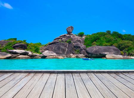 Beautiful sea and blue sky at Similan island, Andaman sea, Thailand Stock Photo