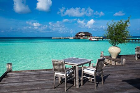 tropical beach in Maldives with few palm trees and blue lagoon Reklamní fotografie