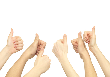 lifted: Many hand lifted up on white background