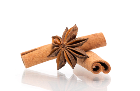 badian: anise and cinnamon isolated on white background