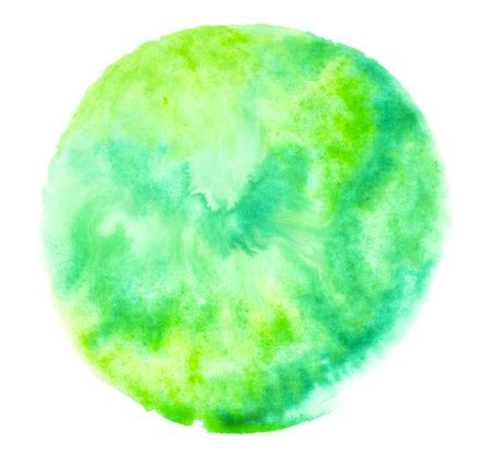 Green watercolor splash stroke background. by drawing