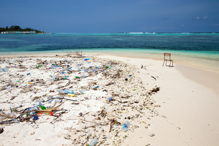 Pollution on the beach of tropical sea Stock Photo