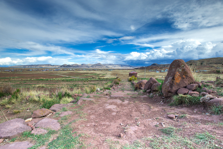 Hayu Marca, the mysterious stargate and unique rock formations near Puno, Peru Stock Photo