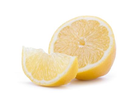Ripe slice of lemon citrus fruit isolated on white background