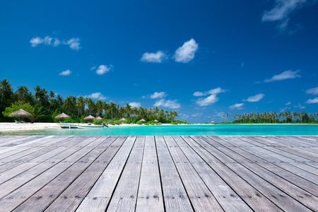 Exotic beach background. Summer travel and tourism, vacation destination concept. Stock Photo