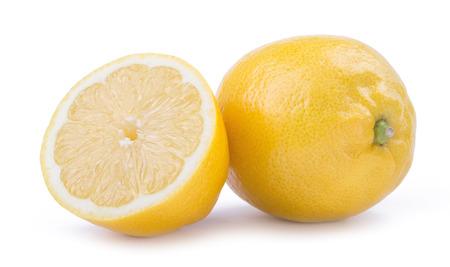 yellow lemon citrus fruit with lemon fruit half isolated on white background