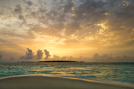 Sunset on sea in Maldives