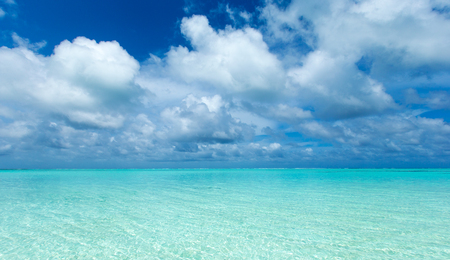 tropical beach in Maldives with lagoon Stock Photo