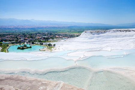 Pamukkale, Turkey. Tourists on Pamukkale Travertine pools and terraces. Stock fotó