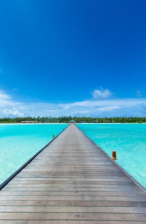 tropische Malediveninsel mit weißem Sandstrand und Meer Standard-Bild