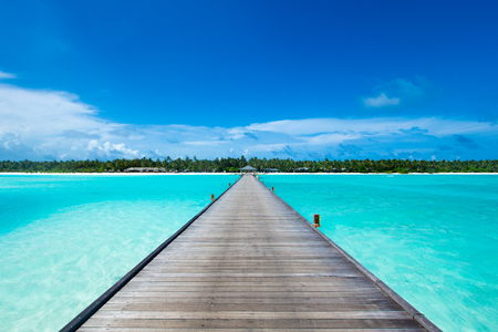 tropische Malediveninsel mit weißem Sandstrand und Meer