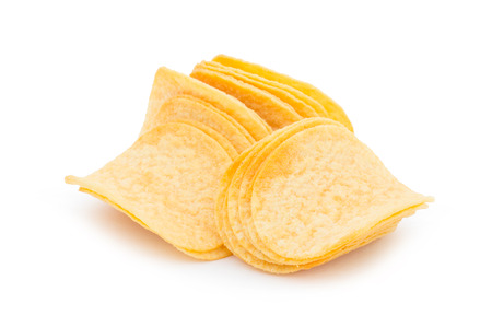 Chips op witte achtergrond worden geïsoleerd die Stockfoto