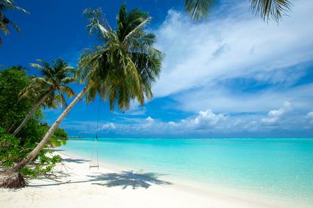 isla tropical de Maldivas con playa de arena blanca y mar