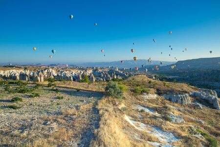 Colorful hot-air balloons flying over the cappadocia