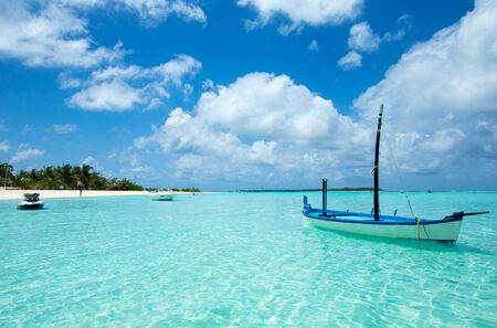 Beautiful tropical Maldives island with beach , sea , and blue sky for nature holiday vacation background concept