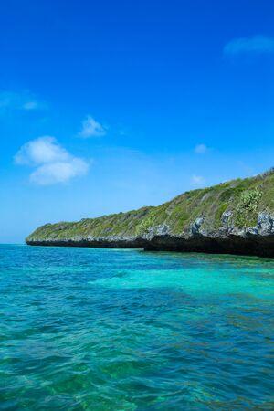 sea in Zanzibar beach. Natural tropical water paradise. nature relax. Travel tropical island resort.