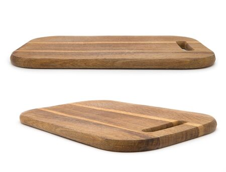 Wooden chopping board isolated on white background Фото со стока