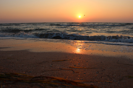 Sunset and beautiful beach Stok Fotoğraf