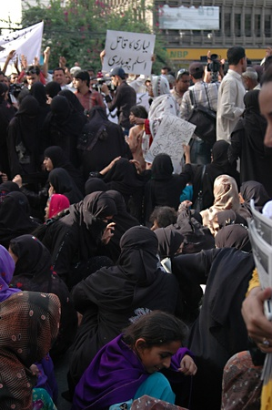 inocent: PAKISTAN_KARACHI_Lyariy women stage protest really  against Zaradari government  poster read Stop killing the inocent  Layraian Zardari (Yazid )infront of Karachi Press Club today on tuesday 1 May 2012     Editorial