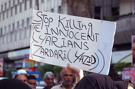 inocent: PAKISTAN_KARACHI_Lyariy women stage protest really  against Zaradari government  poster read Stop killing the inocent  Layraian Zardari (Yazid )infront of Karachi Press Club today on tuesday 1 May 2012