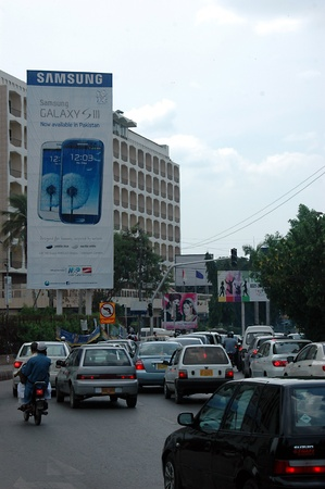 KARACHI/PAKISTAN_ Samsung smartphone pay 50% and start your buisiness sale banner 15  Sept. 2012         Stock Photo - 15240422