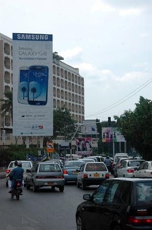 KARACHI/PAKISTAN_ Samsung smartphone pay 50% and start your buisiness sale banner 15  Sept. 2012         Stock Photo - 15240422