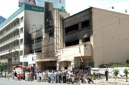 KARACHIPAKISTAN_ After math Pakistani fire fighter cleaning up Pakistani movies house Prince Cinema house yesterday Pakistani protester burnt down movies during protest Anti Islam film made in USA  in Karachi   22 sEPT. 2012       Editorial