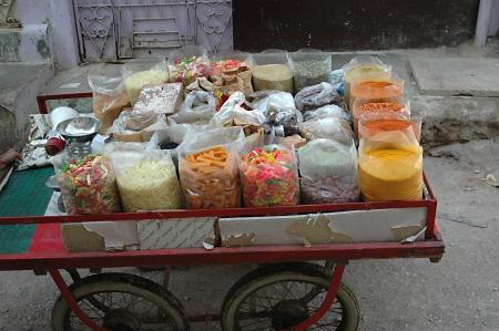 pakistani food: KARACHIPAKISTAN_ Pakistani food and sweet vendor in Azam Basti 25 Sept. 2012         Editorial