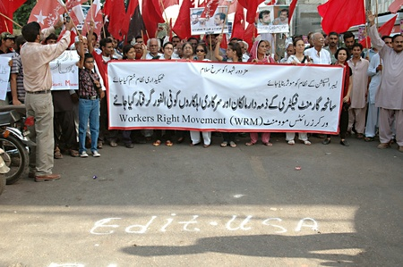 KARACHIPAKISTAN_  Worker Right Movement (WRM) against health and safty of wokers of Sanha Garment Factor fire incidents 260 dead  and asked their arrest of factory owner 29 Sept. 2012
