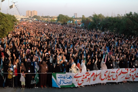 blasphemy: KARACHIPAKISTAN_ Pakistanis in thousands staged protes rally by Jamaat-e-Islami female and males showed anger toward anti Prophet film and prayed, People  show anger toard film maker and USA ,today on 3 October 2012