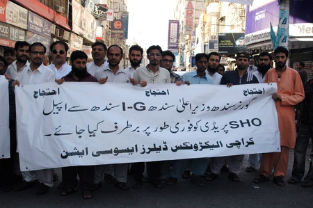 sho: KARACHIPAKISTAN_ Karachi Electronic dealers associations request to Governor sindh to dismiss SHO predy to fired from his SHO post 5 Octber 2012