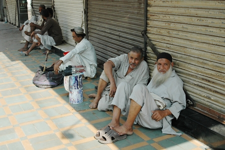 jobless: KARACHIPAKISTAN_ Pakistani jobless males waiting for empolyers come and give them daily job  since Pakistani people do not much seek job thorugh job center 3 Nov. 2012