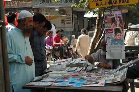 economist: KARACHIPAKISTAN_   Newsweek and the economist at Pakistani newsstand or kiosk 6 Nov. 2012